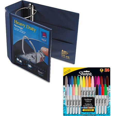 Avery 5; Heavy Duty View Binder with EZD Ring, Navy Blue and Sharpie Permanent Markers, Fine Point, 80s Glam Colors, 24 Pack Bundle (80s Glam Sharpies)