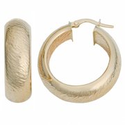 Fremada  10k Yellow Gold 8x20-mm Stone Finish Hoop Earrings
