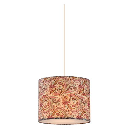 "Z-Lite 204-10 Astra Single Light 10"" Wide Single Pendant with Patterned Fabric Drum Shade"