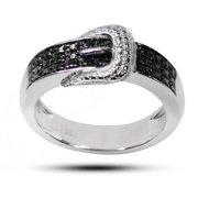 De Buman  Sterling Silver Black Diamond Accent Buckle Ring