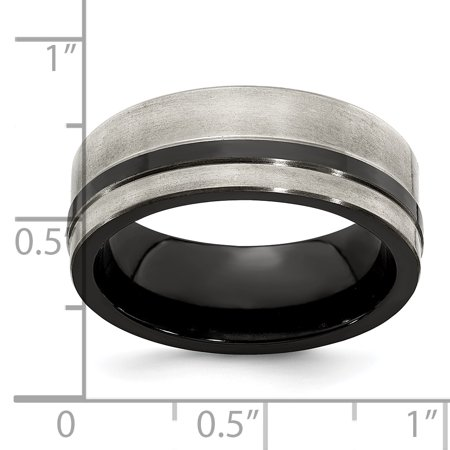 Edward Mirell Titanium Black Flat Cut Edge 8mm Wedding Ring Band Size 8.50 Man Fancy Classic W/edge Fashion Jewelry For Dad Mens Gifts For Him - image 2 of 10