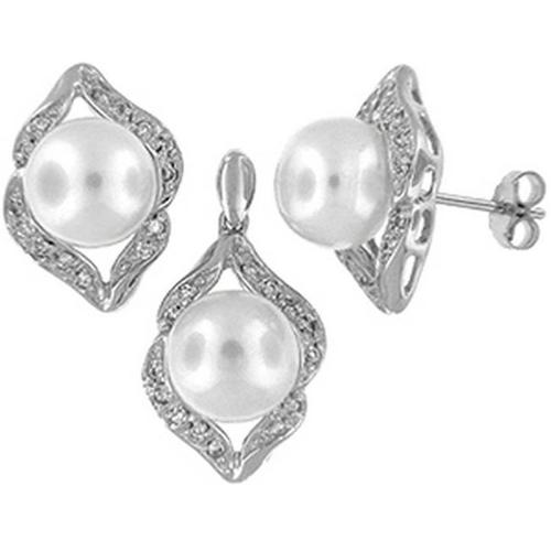 Doma Jewellery SSTL008W Sterling Silver And Freshwater Pearl Earring And Pendant Set