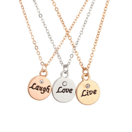 Lux Accessories Live Laugh Love Delicate Charm BFF Best Friends Forever Pendant Chain Necklace (3