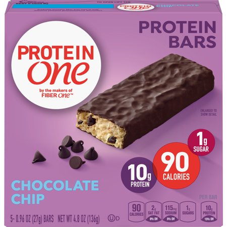 (2 Pack) Protein One 90 Calorie Chocolate Chip Protein Bar 5 ct, 4.8 (Average Calories In A Chocolate Chip Cookie)