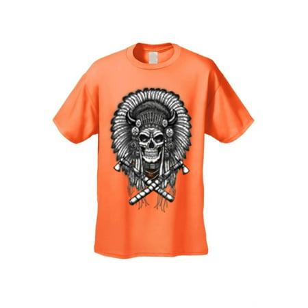 Men's/Unisex Native Warrior Skull Short Sleeve T-Shirt - Skull Warrior