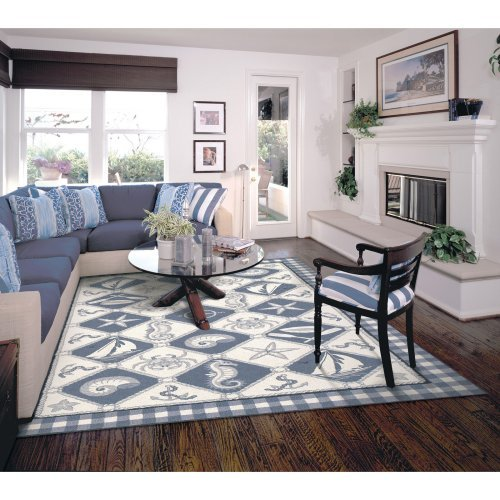 KAS Rugs Colonial 1807 Nautical Panel Area Rug - Blue / Ivory