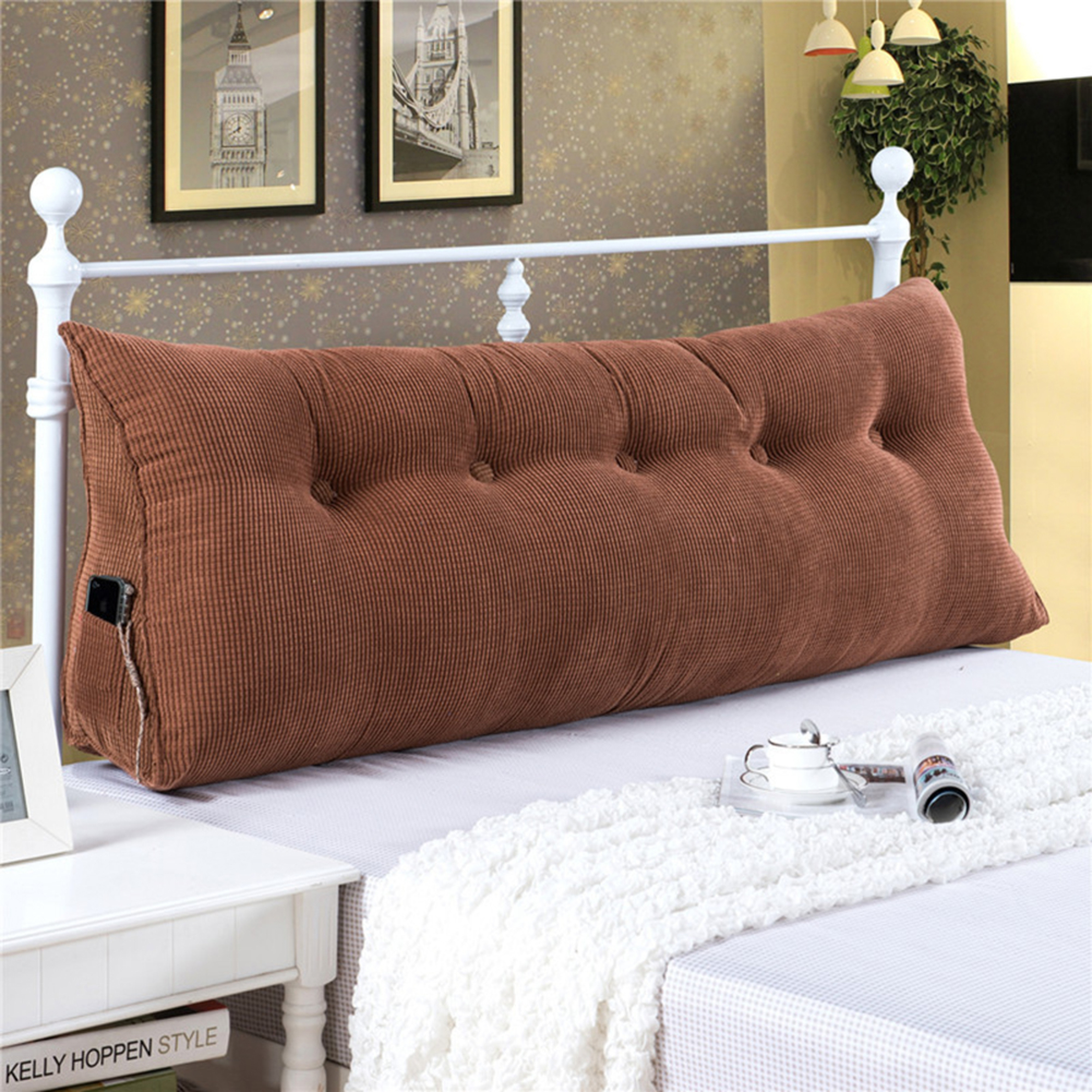 8eff5c42d06f Sofa Bed Large Filled Triangular Wedge Cushion Bed Backrest Positioning  Support Pillow Reading Pillow Office Lumbar Pad with Removable Cover Coffee  Twin