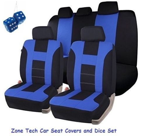 Zone Tech Universal Fit Premium Quality 100% Waterproof Breathable Full Set of Blue and Black Racing Style Seat Covers + Pair of Bold Blue Plush Hanging Fuzzy Dice Set