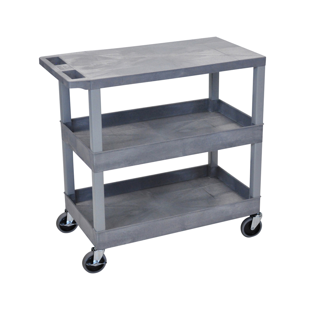 "Offex Gray OF-EC211 18""x32"", Cart with 2 Tub Shelves and 1 Flat Shelf"