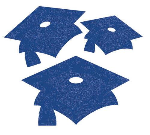 Blue Graduation Cap Cut-Out Wall Decorations (12)