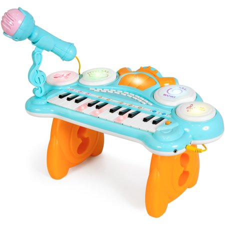 Best Choice Products 24-Key Kids Toddler Educational Learning Musical Electronic Keyboard w/ Lights, Drums, Microphone, MP3, Demo Songs, Teaching Mode - Blue (Best Toddler Educational Toys)