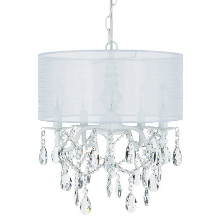 Amalfi Décor 5 Light Crystal Plug-In Chandelier with Cylinder Shade (White) | Wrought Iron Frame with Glass Crystals