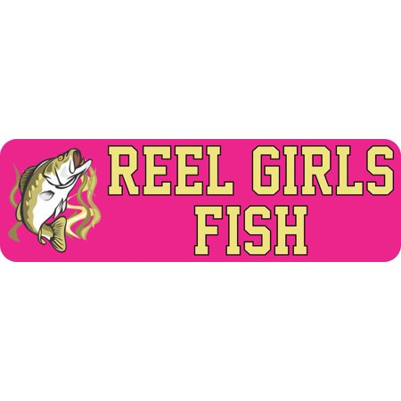 10in x 3in Bass Reel Girls Fish Bumper Magnet Magnetic Fishing Car (Girl Car Magnet)