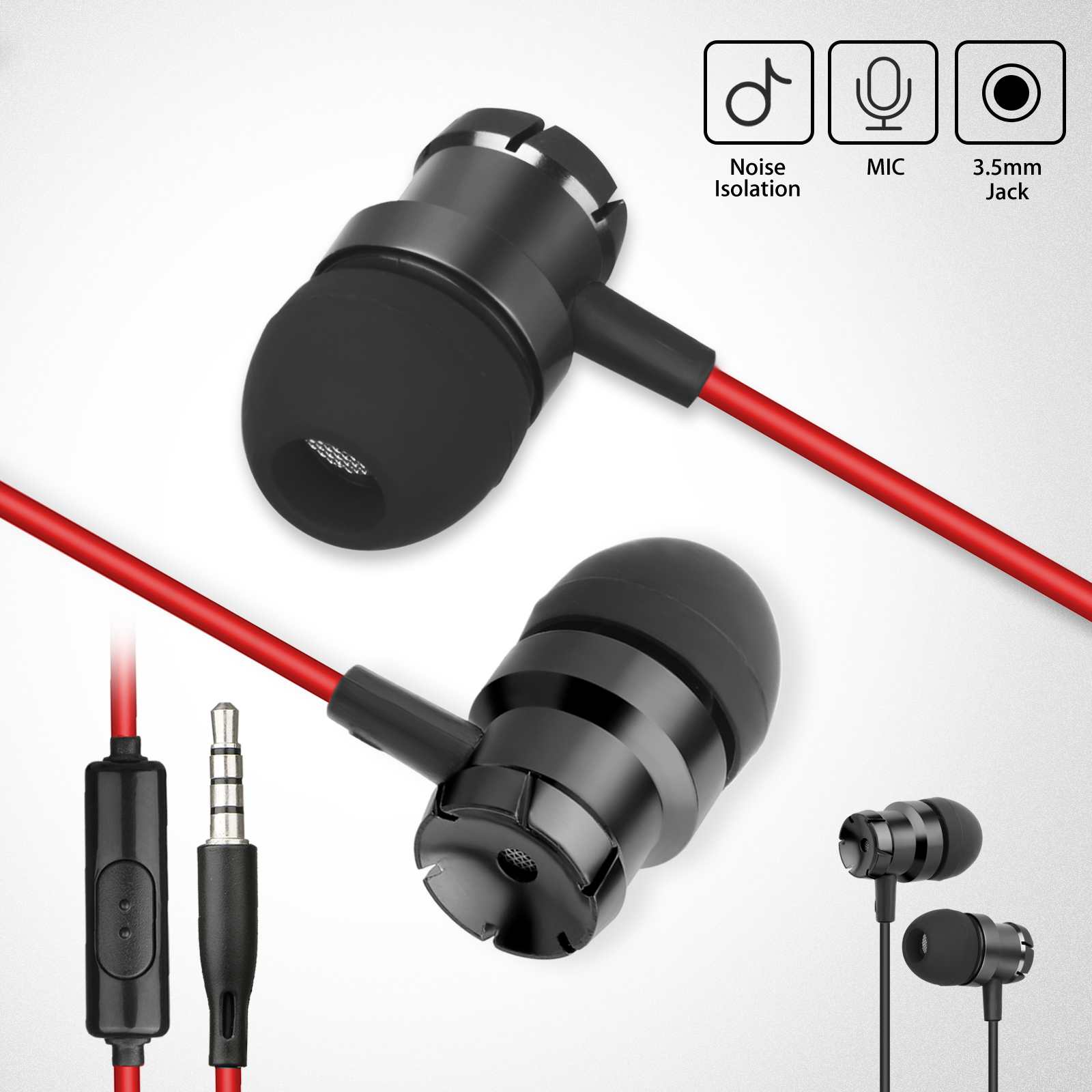 TSV 3.5mm In-Ear Stereo Earbuds Earphone Headset Headphone Super Bass Music With Mic