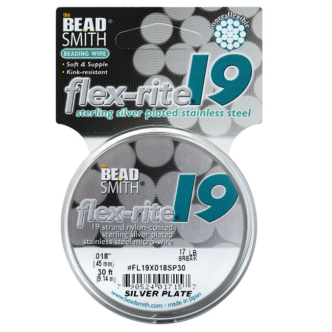 """BeadSmith Flex-Rite Beading Wire, 19 Strand .018"""" Thick, 30 Foot Spool, Silver Plated"""