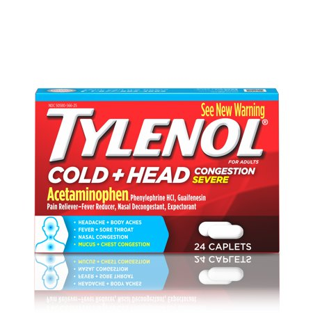Tylenol Cold + Head Congestion Severe Medicine Caplets, 24 (Best Medicine For Common Cold In India)