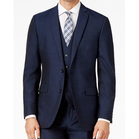 Worsted Wool Mens Blazer (Bar III Mens Short Slim Two Button Wool Blazer)