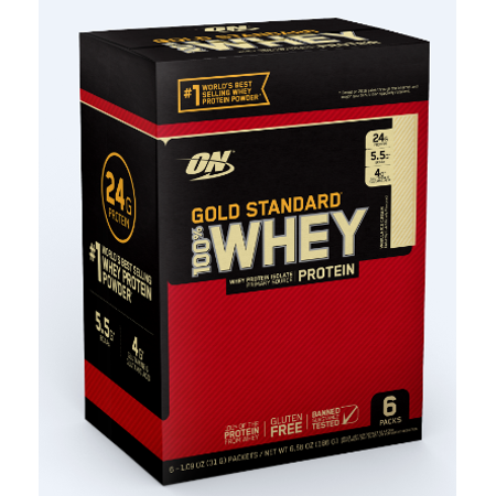 Optimum Nutrition Gold Standard 100% Whey Protein Powder, Vanilla Ice Cream, 6 servings
