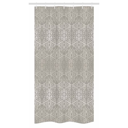 Grey Stall Shower Curtain, Victorian Lace Flowers and Leaves Retro ...