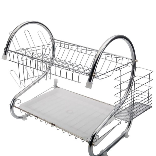 Kitchen Stainless Steel Dish Cup Drying Rack Holder 2 Tier Dish Rack Sink Drainer Walmart Com Walmart Com