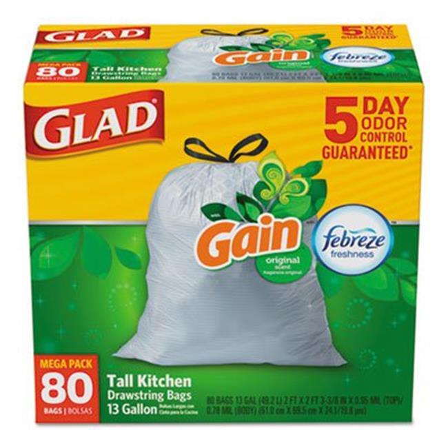 Glad 78900BX 13 gal Odorshield Tall Kitchen Drawing Bags