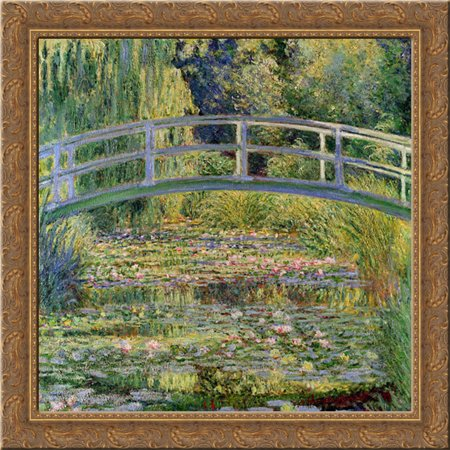 Japanese Framed Art (The Japanese Bridge (The Water Lily Pond) 20x20 Gold Ornate Wood Framed Canvas Art by Monet, Claude )