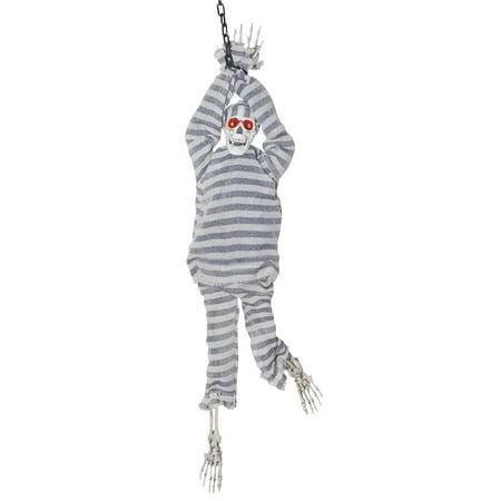 Sound Activated Battery Op. Skeleton Prisoner Kicking Legs Halloween Prop - Kick Buttowski Halloween