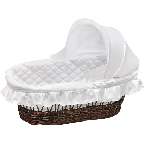 Badger Basket Cherry Wicker Moses Basket with Hood and White Bedding