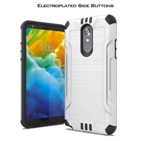 LG Stylo 5 Case, by Insten Metal Plate with Chrome Buttons Dual Layer Hybrid Brushed PC/TPU Rubber Case Cover For LG Stylo 5 - White