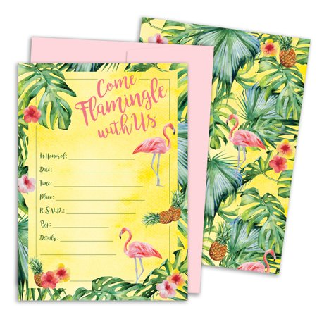 Tropical Aloha Flamingo Pineapple Party Invitations with Envelopes, 10 - Aloha Invitations
