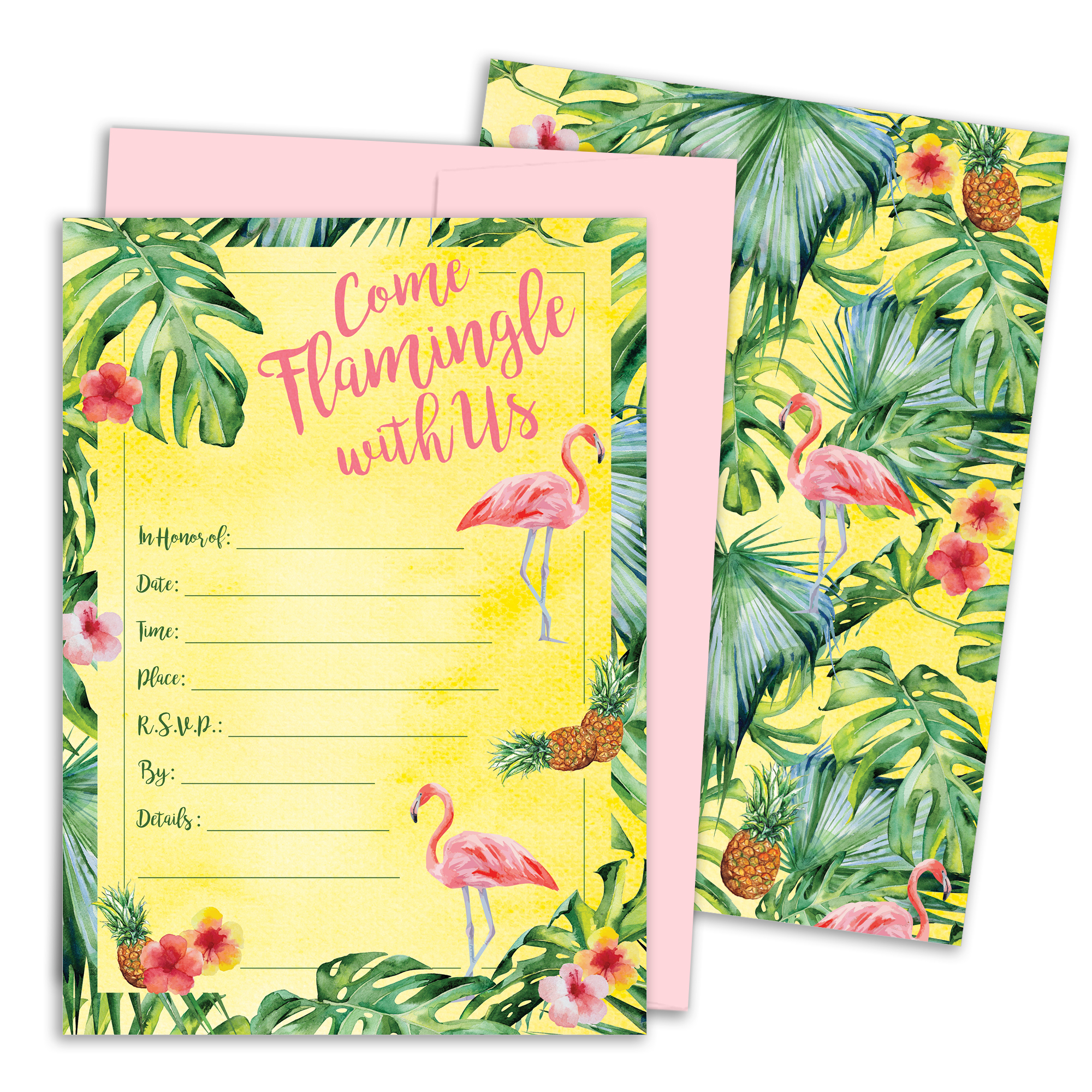 Tropical Aloha Flamingo Pineapple Party Invitations with Envelopes, 25 Count