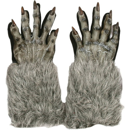 Gray Werewolf Gloves Adult Halloween Accessory