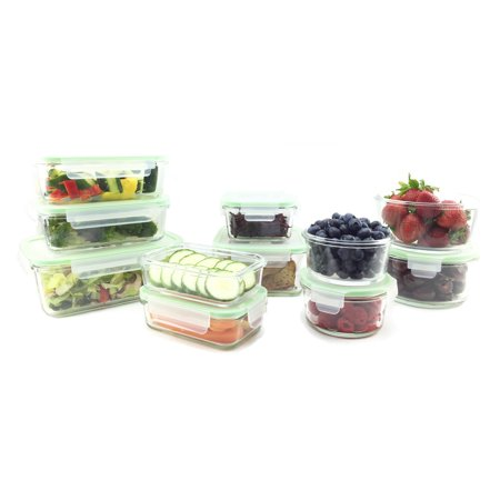 Kinetic Go Green Glassworks 22-Piece Oven Safe Glass Food Storage Container Set with Lid