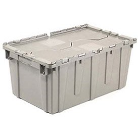 - Distribution Container With Hinged Lid, 27-3/16x16-5/8x12-1/2, Gray, Lot of 1