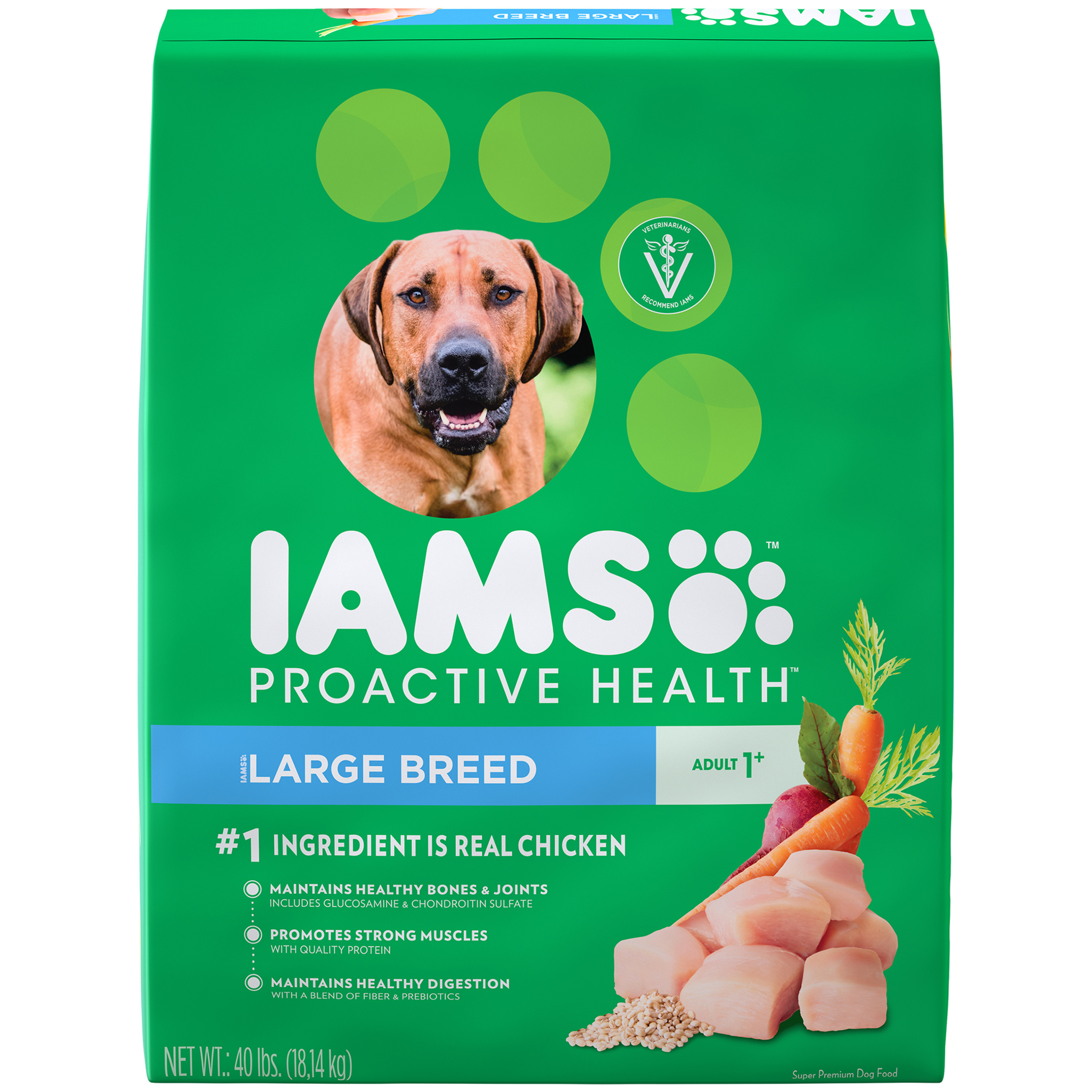 Iams ProActive Health Adult Dry Dog Food for Large Dogs – Chicken, 40 Pound Bag