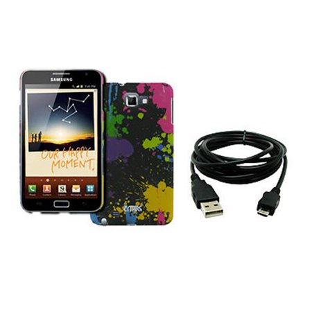 EMPIRE Samsung Galaxy Note I9220 Stealth Design Case Cover (Paint Splatter) + 8' USB 2.0 Data Cable [EMPIRE Packaging]