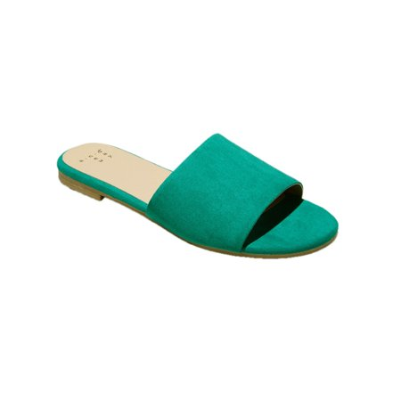 A New Day Women Jozie Casual Open-Toe Slide Sandals Green (Best Sandals For Achilles Tendonitis)