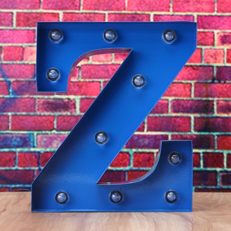 - 9inch Blue Marquee Letter Lights LED Vintage Circus Style  N-Z Alphabet Light Up Sign Wedding Party Decoration