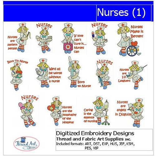 Threadart Machine Embroidery Designs Nurses(1) CD