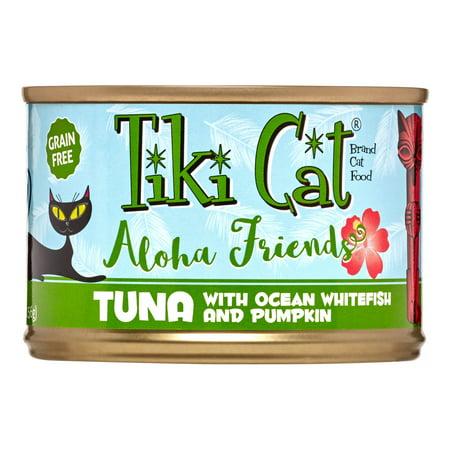 (8 Pack) Tiki Cat Aloha Friends Grain-Free Tuna with Ocean Whitefish & Pumpkin Wet Cat Food, 5.5 oz. (Best Friends Cat Food)