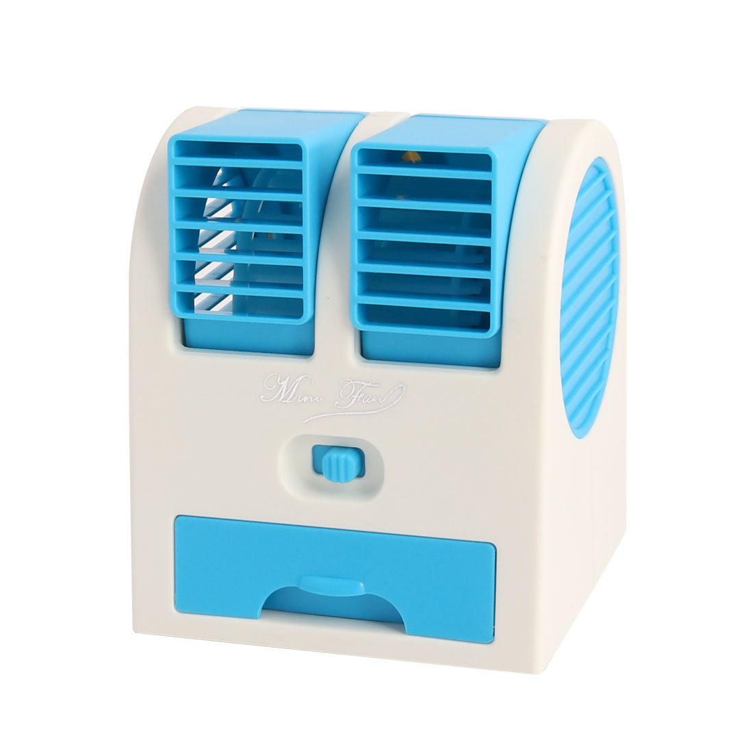 Small USB Powered Cooling Bladeless Handheld Fan Desktop Air Conditioner Blue