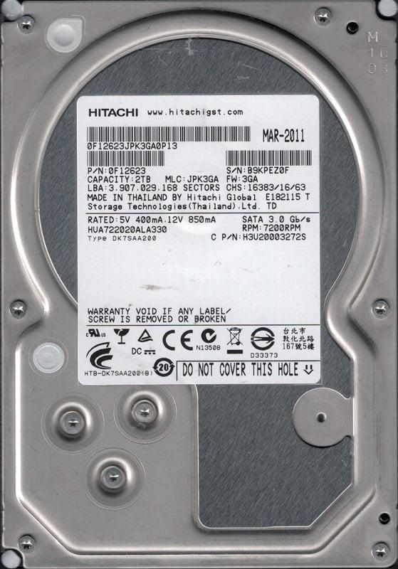 Hitachi HUA722020ALA330 P N: 0F12623 MLC: JPK3GA 2TB by Hitachi