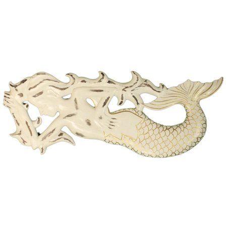 Hand Painted Wooden Wall (Nautical Decoration - Hand Painted 20 Inch Long Wooden Mermaid Wall Plaque)