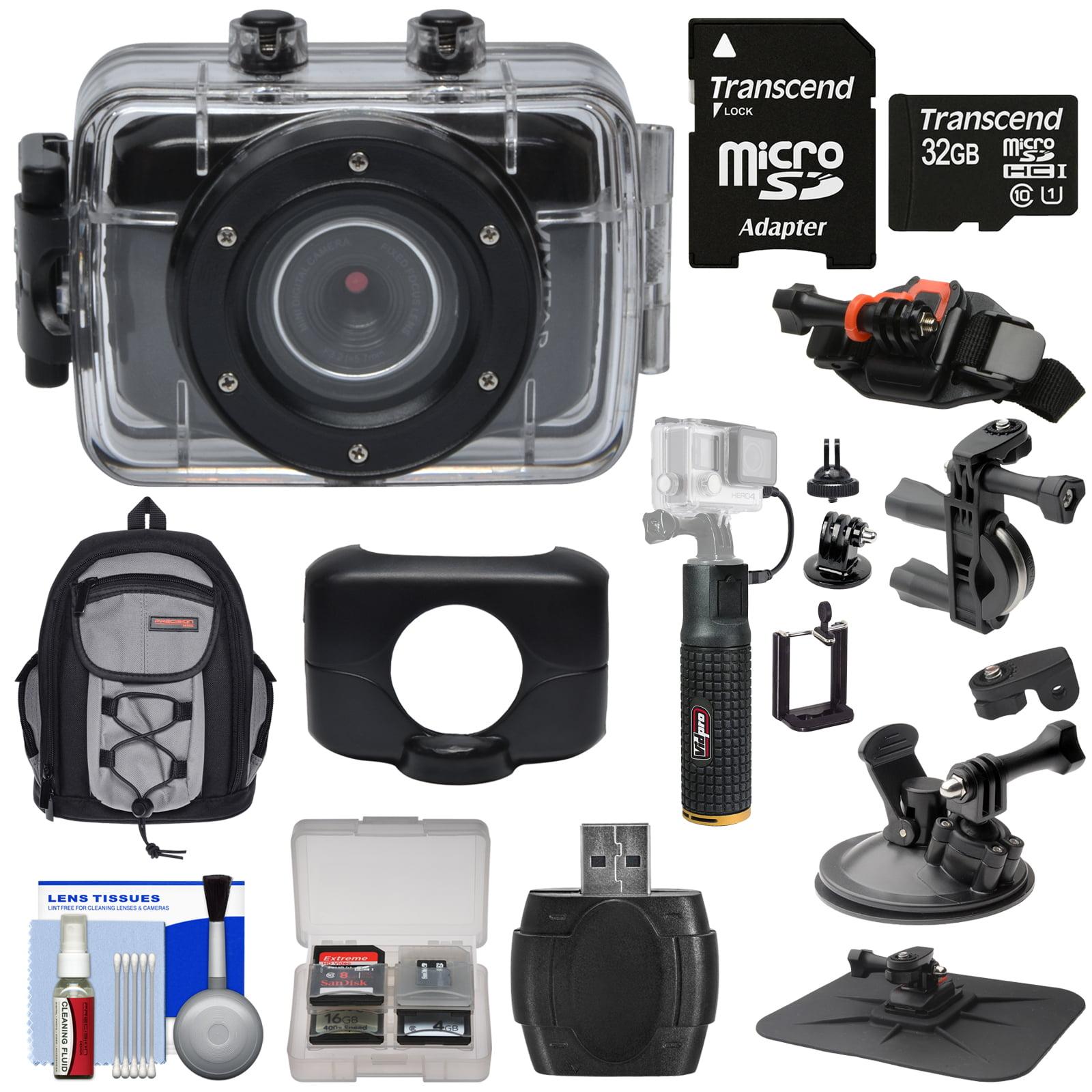 Vivitar DVR781HD HD Waterproof Action Video Camera Camcorder (Black) with 32GB Card + Suction Cup, Helmet, Bike Mounts + Backpack + Battery Grip Kit