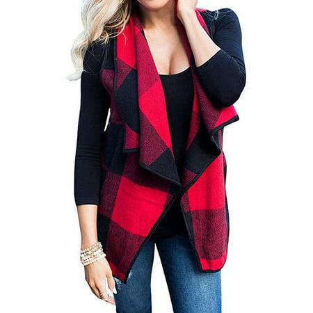 Plaid Reversible Vest (711ONLINESTORE Women Lapel Collar Open Front Plaid Vest)