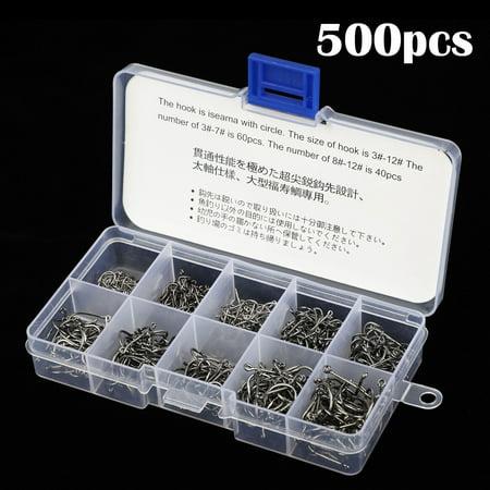 925 Sterling Silver Fish Hook - TSV 500pcs Fish Hooks 10 Sizes Fishing Black Silver Sharpened With Plastic Box kit