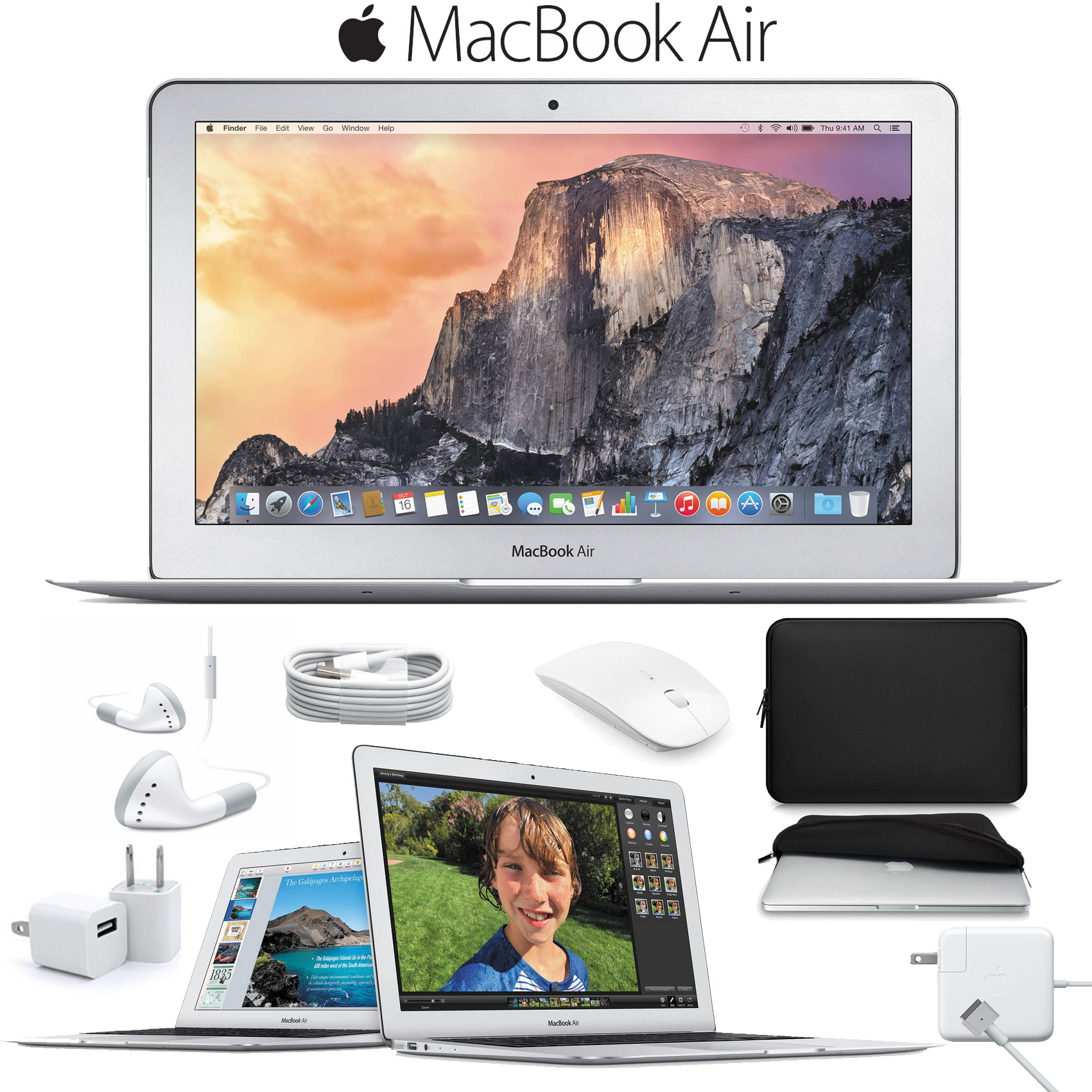 "Apple 11.6"" MacBook Air Notebook Computer (Early 2015) + Padded Case For Macbook + Slim Optical Wireless Bluetooth Mouse Bundle"