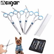 "Stainless Steel 6"" 5Pcs/Lot Professional Dog Cat Grooming Scissors Straight Curved Cutting Shears Kit Puppy Hair Trimmer Pet Beauty Accessories + Trimming Comb+Clean Cloth+Case"