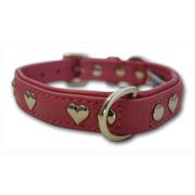 Leather 'Hearts' Dog Collar, Padded, Double-Ply, Riveted Settings, 16' x 3/4', Pink, Leather (Rotterdam Hearts) Neck Size: 11.5' - 14'