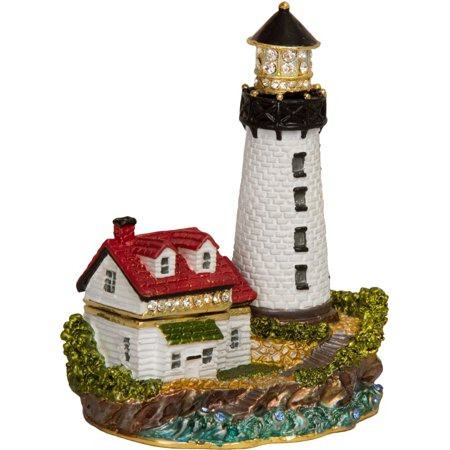 Bejeweled Trinket Box - Luxury Giftware by Jere Enameled Lighthouse Trinket Box